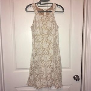 Beige & White Lace Floral Formal Dress